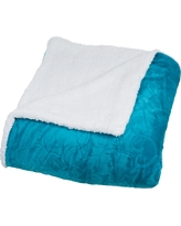 Yorkshire Home Floral Etched Fleece Blanket with Sherpa -Teal (Full/Queen), Teal Wharf