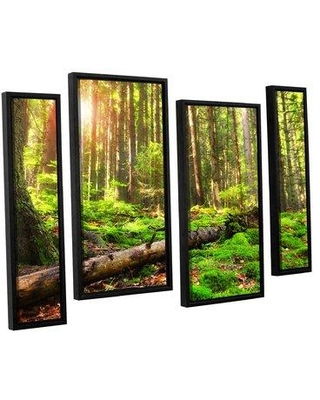 """ArtWall 'Back to Green' by Dragos Dumitrascu 4 Piece Framed Photographic Print on Wrapped Canvas Set JJM7716 Size: 24"""" H x 36"""" W x 2"""" D"""
