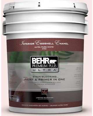 BEHR Premium Plus Ultra 5 gal. #200C-1 Hush Pink Eggshell Enamel Interior Paint and Primer in One
