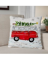 """The Holiday Aisle Bus Candy Cane Throw Pillow THLY3303 Size: 18"""" x 18"""""""