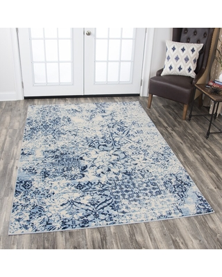 """Rizzy Home Panache Ivory/Blue Patchwork Floral Area Rug (3'3 x 5'3) - 3'3"""" x 5'3"""" (Ivory/Blue - 3'3"""" x 5'3"""")"""