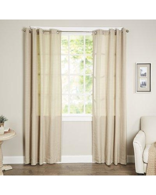 """Waverly Key Largo Solid Semi-Sheer Thermal Grommet Single Curtain Panel 14025052 Size per Panel: 52"""" W x 84"""" L Curtain Color: Oatmeal"""