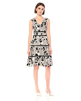 Taylor Dresses Women's Sleeveless Floral Print fit and Flare Dress, Grey Black, 6