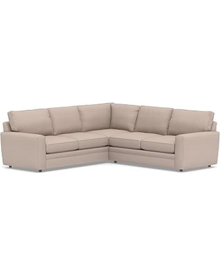 Pearce Square Arm Upholstered 2-Piece L-Shaped Sectional, Down Blend Wrapped Cushions, Performance Heathered Tweed Desert