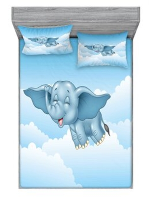 Baby Flying Elephant Clouds Comic Animal Print Sheet Set East Urban Home Size: Full/Double