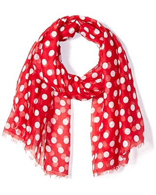 Tickled Pink Women's Standard Stylish, Long & Lightweight Polka Dot Fashion Scarf, Crimson Red, 36 x 70""