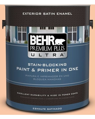 BEHR Premium Plus Ultra 1 gal. #250C-3 Fresco Cream Satin Enamel Exterior Paint and Primer in One