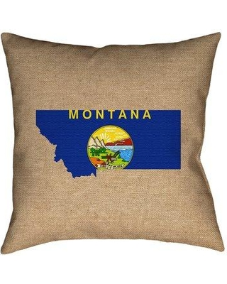 """East Urban Home Center Drive Montana Flag Pillow in Poly Twill Double Sided Print/Throw Pillow W001010358 Size: 20"""" x 20"""" Color: Brown/Blue/Yellow"""
