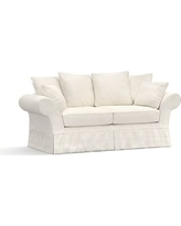 "Charleston Slipcovered Sofa 86"", Polyester Wrapped Cushions, Denim Warm White"