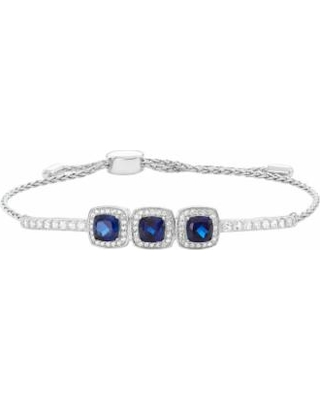 """Sterling Silver Lab-Created Blue & White Sapphire Cushion Halo Lariat Bracelet, Women's, Size: 9"""""""