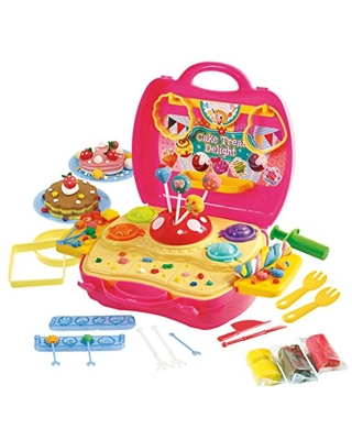 Children's Dough Carry Cake & Treat Delight Set - Children's Art Doughs - Clay Dough Toy Tool Set - Crazy Cake Treat Pretend Play Toy Kit - Portable Molds Case - 9.45 x 3.9 x 8.9 inches