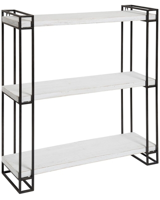 """30"""" x 26"""" Lintz Wood and Metal Floating Wall Shelves White - Kate and Laurel All Things Decor"""