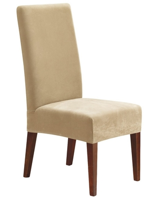 Stretch Pique Short Dining Room Chair Slipcover Cream - Sure Fit