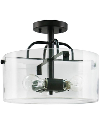 Home Decorators Collection 3-Light Bronze Semi-Flush Mount with Clear Glass Shade