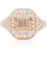 SHAY - Women's 18K Rose Gold Essential Pave Pinky Ring with Baguette Diamond Center - Rose Gold - Moda Operandi
