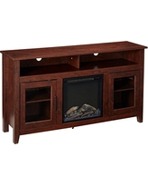"""WE Furniture 58"""" Wood Highboy Fireplace Media TV Stand Console - Traditional Brown"""