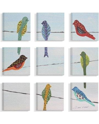 Winston Porter 'Multi Color Birds Sitting On Wire Painted Patterns' 9 Piece Graphic Art Print Set on Canvas BF194731