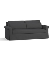 """York Roll Arm Slipcovered Deep Seat Sofa 84"""" with Bench Cushion, Down Blend Wrapped Cushions, Premium Performance Basketweave Charcoal"""