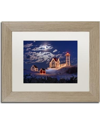 """Trademark Art 'Moon over Nubble' Framed Photographic Print on Canvas ALI2104-T1114MF / ALI2104-T1620MF Size: 11"""" H x 14"""" W x 0.5"""" D"""