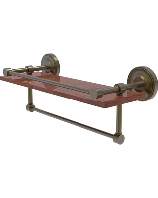 Allied Brass Prestige Regal Collection 16 in. IPE Ironwood Shelf with Gallery Rail and Towel Bar in Antique Brass