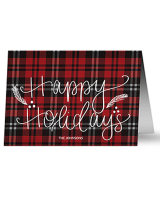 Red Plaid Happy Holidays Family Christmas Card - Set of 15