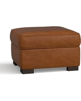 Townsend Leather Ottoman, Polyester Wrapped Cushions, Leather Burnished Bourbon