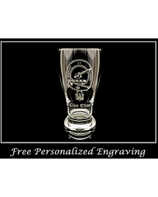 Clan Elliott Scottish Crest Pint Glass- Free Personalized Engraving, Family Crest, Pub Glass, Beer Glass, Custom Beer Glass