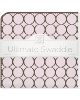 Swaddle Designs Ultimate Receiving Blanket® in Pastel with Brown Mod Circles SD-016PB Color: Pastel Pink