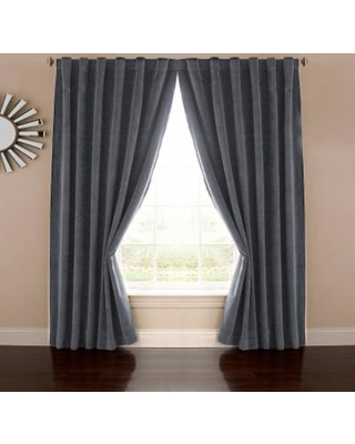 eclipse Absolute Zero Thermaback Blackout 1-Panel Velvet Home Theater Window Curtain, Blue
