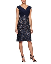 Alex Evenings Women's Midi Length Embroidered Dress, Navy/Nude, 10