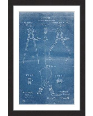 "Marmont Hill 'Calipers 1886 Blueprint' by Steve King Framed Painting Print MH-STVKG-66-BFP- Size: 36"" H x 24"" W x 1.5"" D"