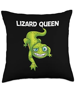Cool Lizard Gift Salamander Zoo Keeper Clothing Funny Lizard Lover Design For Women Mom Reptile Pet Animal Throw Pillow, 18x18, Multicolor