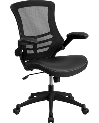Swivel Task Chair with Leather Padded Seat Black - Flash Furniture