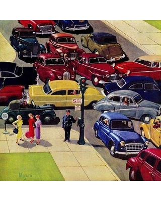 """Marmont Hill Traffic Jam by Earl Mayan Painting Print on Wrapped Canvas MH-RETR-313-C- Size: 40"""" H x 40"""" W"""