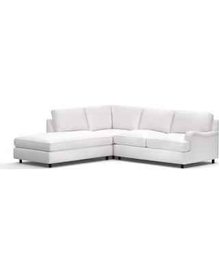 PB English Upholstered Right 3-Piece Bumper Sectional, Polyester Wrapped Cushions, Twill White