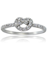 Icz Stonez Sterling Silver Cubic Zirconia Love Knot Ring (5 - Fashion)
