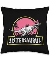 Mother's Day Designs Mom-Gifts Sistersaurus Tyrannosaurus Rex Funny Little Big Sister Throw Pillow, 16x16, Multicolor
