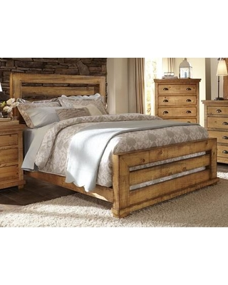 Willow P608-80-81-78 King Slat Bed with Headboard Footboard and Side Rails in Distressed