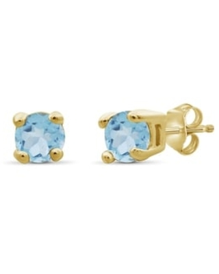 JewelonFire 2.00MM Round Gemstone Stud Earrings in Sterling Silver - Assorted Styles (Yellow - Topaz)