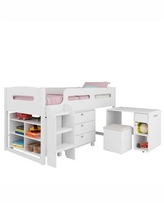 CorLiving Madison 5pc All-in-One Single/Twin Loft Bed - White
