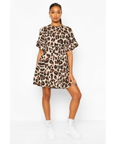 Womens Leopard Print Smock Dress - Brown - 6