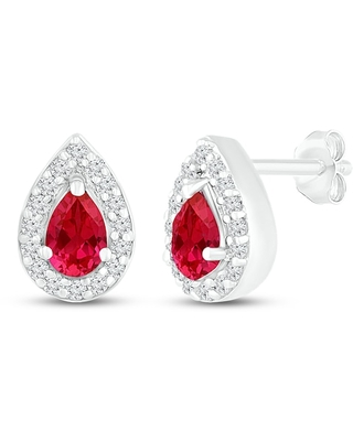 Jared The Galleria Of Jewelry Lab-Created Ruby/Sapphire Earrings Sterling Silver