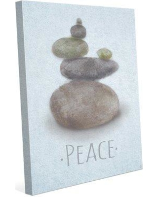"""Click Wall Art 'Relax and Peace Vertical Blue' Painting Print on Canvas ZEN0000003CAN Size: 20"""" H x 16"""" W x 1.5"""" D"""