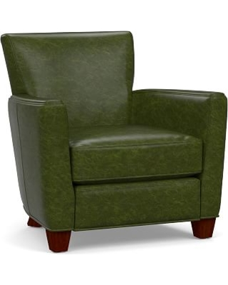 Irving Square Arm Leather Power Recliner, Polyester Wrapped Cushions, Legacy Forest Green