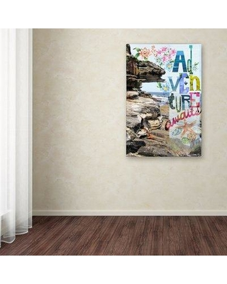 """East Urban Home 'Adventure Awaits' Graphic Art Print on Wrapped Canvas EBHV6911 Size: 32"""" H x 22"""" W x 2"""" D"""