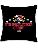 US Army Special Forces Group (11th SFG) Throw Pillow, 16x16, Multicolor