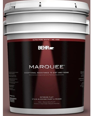 BEHR MARQUEE 5 gal. #130F-6 Brazil Nut Flat Exterior Paint and Primer in One