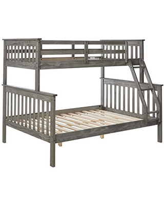 Donco Kids Mission Bunk Bed, Twin/Full, Brushed Grey