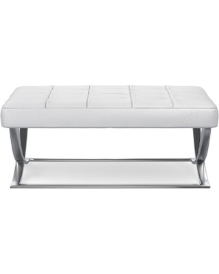 James Large Ottoman, Polished Nickel, Pebbled Leather, White