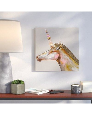 """Wrought Studio 'Unicorn with Leather Mane' Acrylic Painting Print on Stretched Canvas VARK2290 Size: 30"""" H x 30"""" W"""